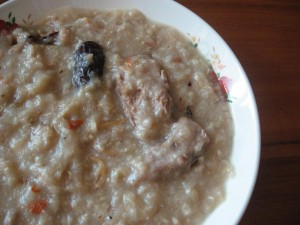 silver fish  peanut pork ribs brown rice porridge