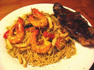 steak and seafood mushroom spaghetti